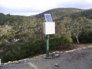 Dam crest data logger with solar power
